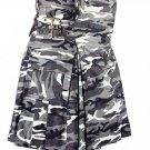 Waist 50 Army Gray Camo Utility Cotton Kilt Handmade Camo kilt with Big Cargo Pocket