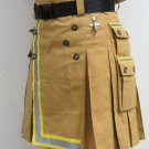34 Size Fireman Khaki Cotton UTILITY KILT With Cargo Pockets Heavy Duty Utility Kilt