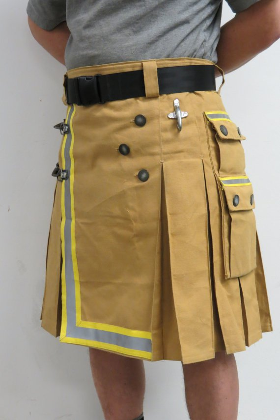 36 Size Fireman Khaki Cotton UTILITY KILT With Cargo Pockets Heavy Duty Utility Kilt