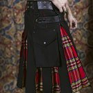 Custom Size Black Cotton & Royal Stewart Hybrid Utility Kilt with Cargo Pockets All Sizes Available