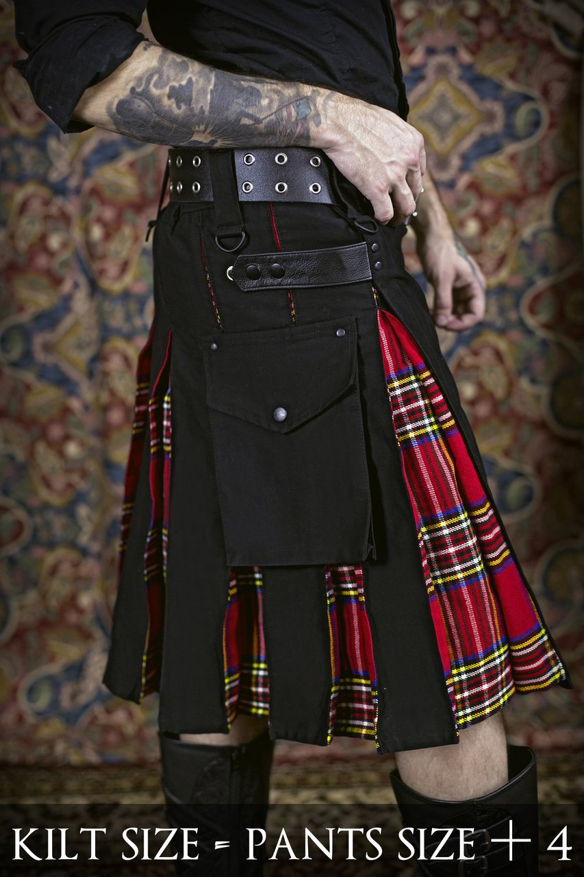 48 Size Black Cotton & Royal Stewart Hybrid Utility Kilt with Cargo Pockets All Sizes Available