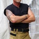 Large Size Scottish Black Cotton Sleeveless Jacobite Ghillie Jacobean Kilt Shirt for men