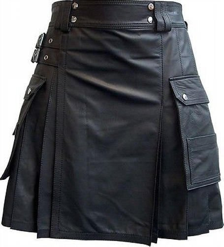 Handmade 46 Size Leather Pleated Kilt Utility Cargo Pocket Kilt Scottish Leather Skirt