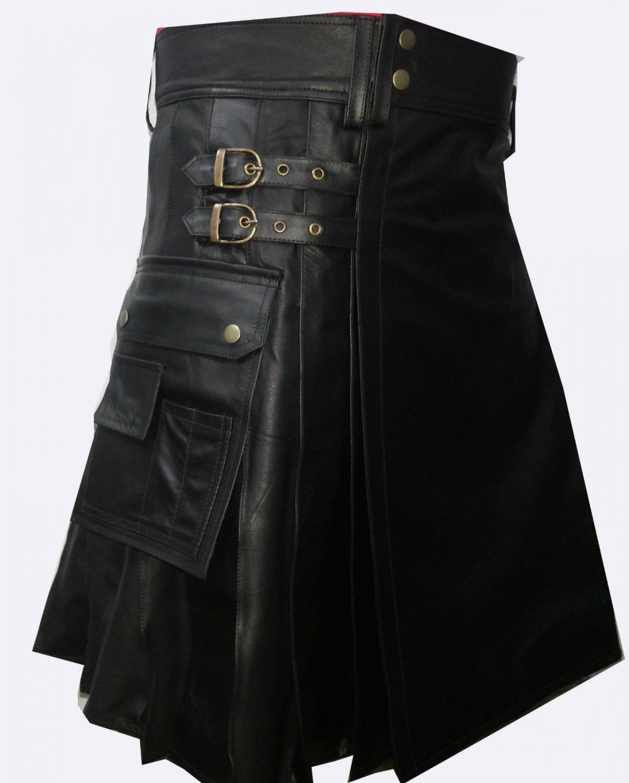 46 Size Leather Kilt Utility Cargo Pocket Kilt Scottish Leather Skirt with Adjustable Straps