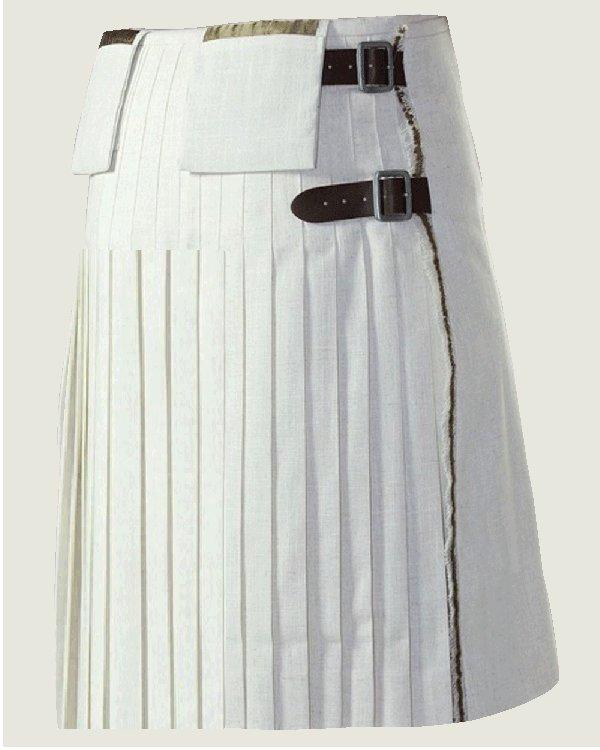White Utility Cotton Kilt with Cargo Pockets 52 Size Unisex Adult Tactical Kilt
