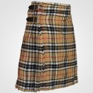 Size 50 Men's 8 Yard Scottish Highland Camel Thompson Tartan kilt  Camel Thompson Utility Kilt