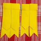 Yellow Cotton Kilt Hose Sock Flashes Garters for Traditional Adult Kilt Flashes.