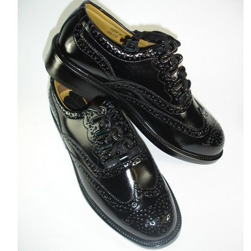 Size 10 Uk Highland Kilt Black Leather Shoes Ghillie Brogues Leather Sole And Leather Upper