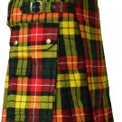 26 Size Scottish Utility Tartan Kilt in Buchanan Modern Highland Kilt for Active Men