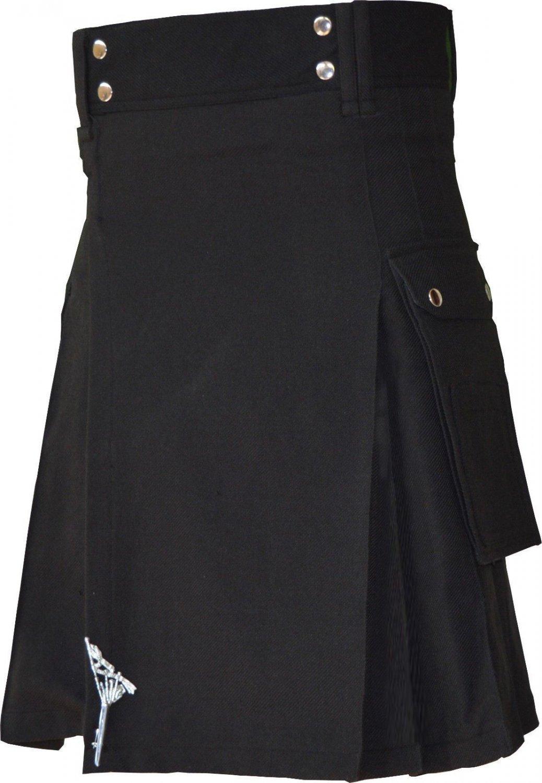 Plain Black Modern Utility Tartan Kilt for Active Men Scottish Deluxe Utility Kilt