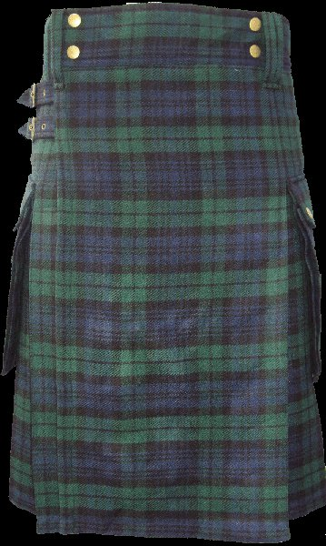52 Size Modern Utility Kilt in Black Watch Tartan Scottish Utility Tartan Kilt for Active Men