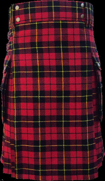54 Size Modern Utility Kilt in Wallace Tartan Scottish Deluxe Utility Tartan Kilt for Active Men