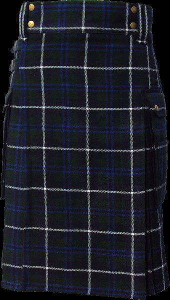 34 Size Scottish Utility Tartan Kilt in Blue Douglas Highland Modern Kilt for Active Men