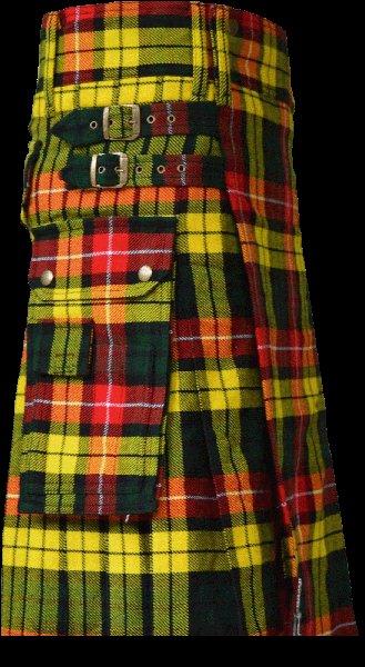 40 Size Scottish Utility Tartan Kilt in Buchanan Modern Highland Kilt for Active Men