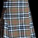 32 Size Scottish Utility Tartan Kilt in Camel Thompson Modern Highland Kilt for Active Men