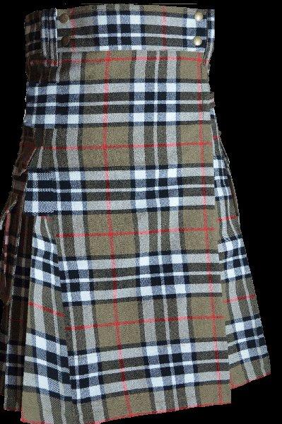 52 Size Scottish Utility Tartan Kilt in Camel Thompson Modern Highland Kilt for Active Men