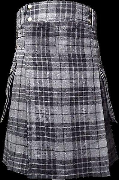 40 Size Scottish Utility Tartan Kilt in Gray Watch Modern Highland Kilt for Active Men