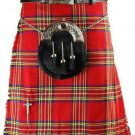 Traditional Scottish Highland 8 Yard 10 oz. Kilt in Royal Stewart Tartan for Men Fit to Size 34