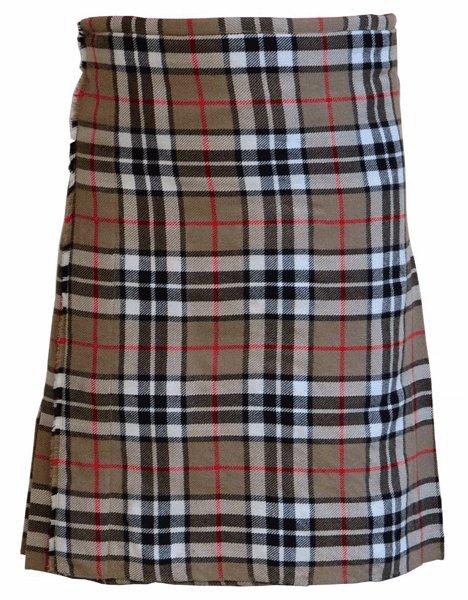 56 Size Scottish 8 Yard 10 Oz. Tartan Kilt in Camel Thompson Tartan Kilt Highland Traditional Kilt