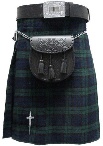32 Size Black Watch Scottish Highland 8 Yard 10 oz. Kilt for Men Scottish Tartan Kilt