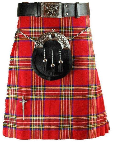 Kilt in Royal Stewart Tartan for Men Fit to Size 60 Traditional Scottish Highland 5 Yard 10 oz.
