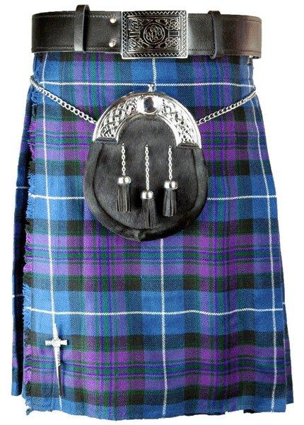 Kilt in Pride of Scotland Tartan for Men 30 Size Traditional Scottish Highlander 5 Yard 10 oz.