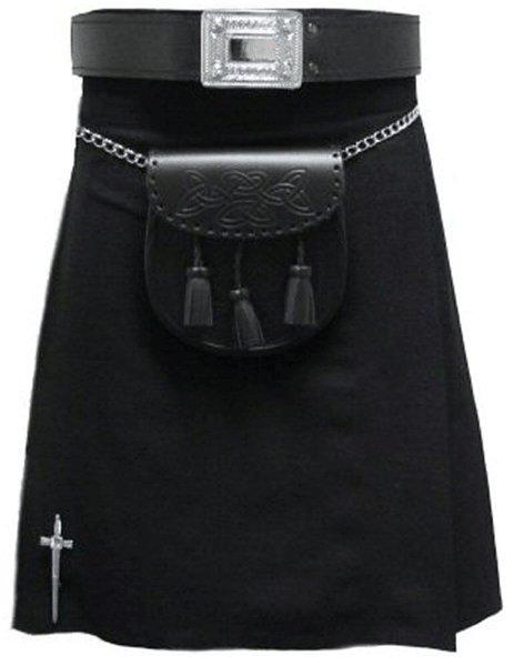 Kilt in Plain Black Tartan for Men 28 Size Traditional Scottish Highlander 5 Yard 10 oz.Kilt