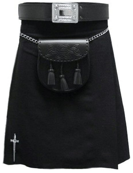 Kilt in Plain Black Tartan for Men 52 Size Traditional Scottish Highlander 5 Yard 10 oz.Kilt