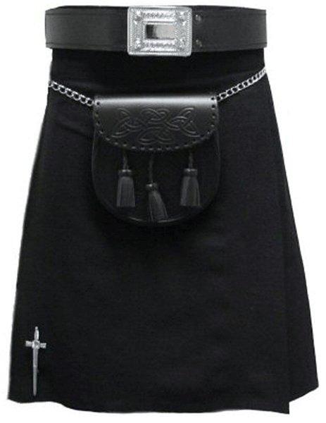 Kilt in Plain Black Tartan for Men 60 Size Traditional Scottish Highlander 5 Yard 10 oz.Kilt