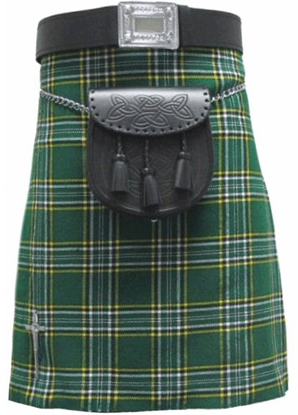 Highland Kilt for Men Irish Tartan Kilt 38 Size Irish National 5 Yard 10 oz. Scottish Kilt