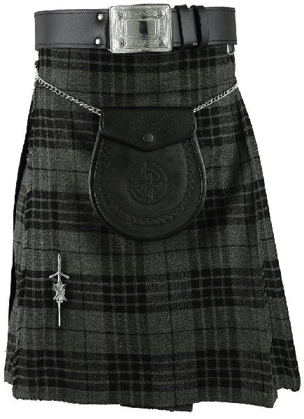 kilt Traditional Pleated to Set Kilt 28 Size Scottish Granite Gray Watch Tartan 5 Yard 10 Oz. Kilt