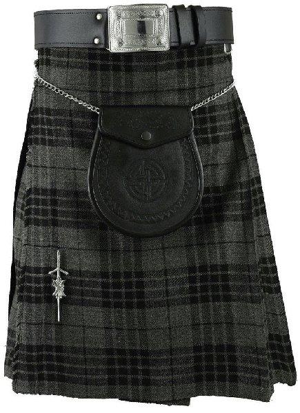 kilt Traditional Pleated to Set Kilt 52 Size Scottish Granite Gray Watch Tartan 5 Yard 10 Oz. Kilt