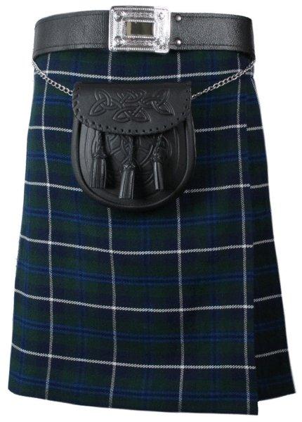Tartan Kilt in Blue Douglas Kilt Highland Traditional Kilt 58 Size Scottish 5 Yard 10 Oz. Kilt