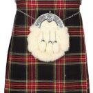 Kilt for Men Scottish Tartan Kilt 52 Size Black Stewart Highland 5 Yard 10 oz. Kilt