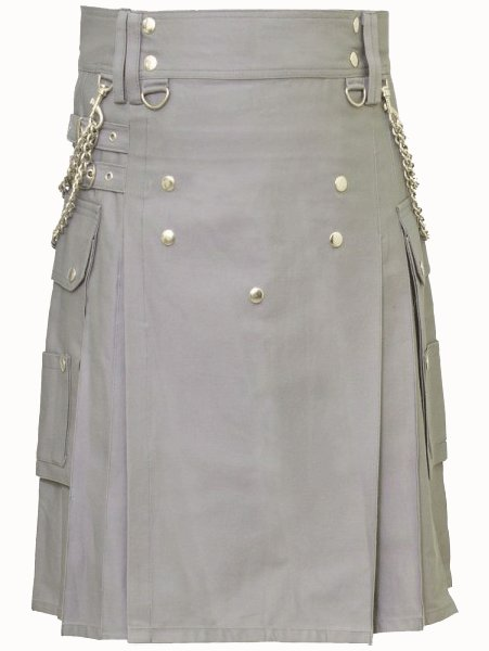 Fashion Kilt Front Button Kilt Grey Utility Kilt 48 Size Cotton Kilt with Chrome Chains