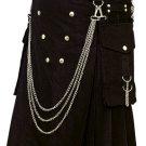 Fashion Kilt Gothic Utility Kilt 32 Size Black Cotton Kilt with Cargo Pockets & Silver Chains
