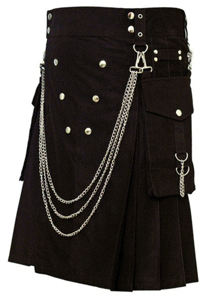 Fashion Kilt Gothic Utility Kilt 46 Size Black Cotton Kilt with Cargo Pockets & Silver Chains