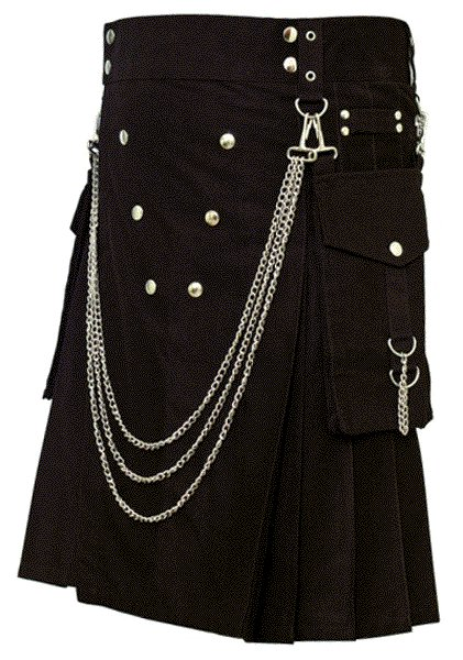 Fashion Kilt Gothic Utility Kilt 56 Size Black Cotton Kilt with Cargo Pockets & Silver Chains