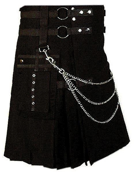 Modern Kilt Gothic Utility Kilt 26 Size Black Cotton Kilt with Cargo Pockets & Silver Chains