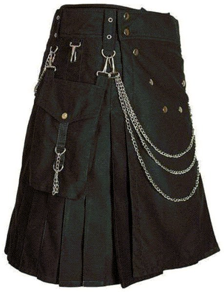 Modern Kilt Gothic Utility Kilt 40 Size Black Cotton Kilt with Cargo Pockets & Silver Chains