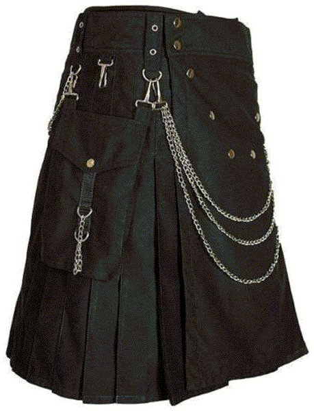 Modern Kilt Gothic Utility Kilt 44 Size Black Cotton Kilt with Cargo Pockets & Silver Chains