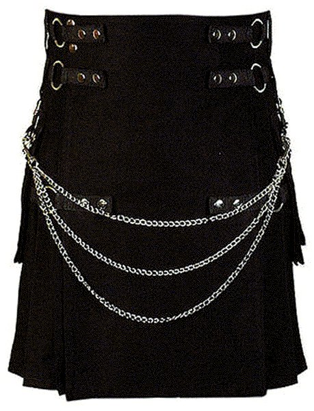 26 Size Modern Kilt Black Utility Kilt Cotton Kilt with Cargo Pockets & Chains for Stylish Men