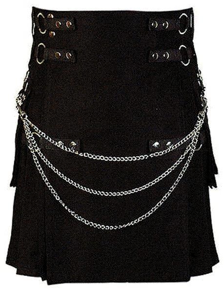 58 Size Modern Kilt Black Utility Kilt Cotton Kilt with Cargo Pockets & Chains for Stylish Men