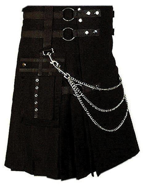 Professional Scottish Kilt 46 Size 100% Cotton Stylish Black Kilt for Men with Beautiful Chains