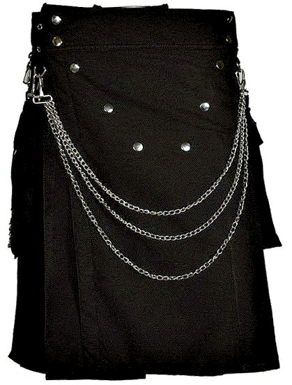 Stylish Men Black Utility Cotton Kilt of Size 40 with Chrome Chains and Buttons on Front in V Shape