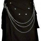 Stylish Men Black Utility Cotton Kilt of Size 54 with Chrome Chains and Buttons on Front in V Shape