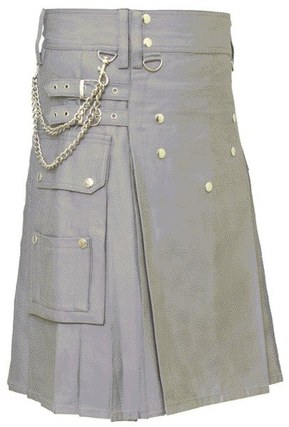Gray Utility Cotton Kilt for Stylish Men of Size 28 with Chrome Chains and Buttons on Front