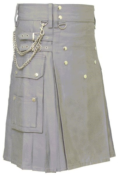 Gray Utility Cotton Kilt for Stylish Men of Size 56 with Chrome Chains and Buttons on Front