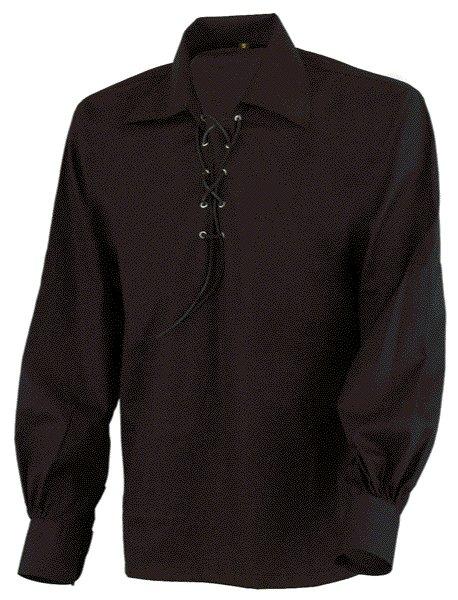 Medium Size Jacobite Ghillie Kilt Shirt Black Cotton Jacobean Shirt with Leather Cord for Men