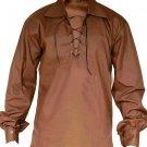 2XL Size Jacobite Ghillie Kilt Shirt Brown Cotton Jacobean Shirt with Leather Cord for Men